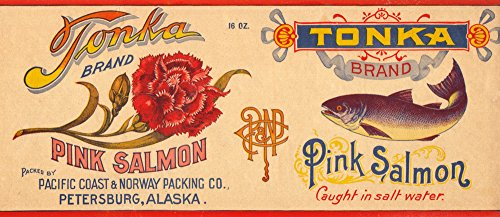 Petersburg, Alaska - Tonka Brand Salmon - Vintage Label (16x24 SIGNED Print Master Giclee Print w/Certificate of Authenticity - Wall Decor Travel Poster)