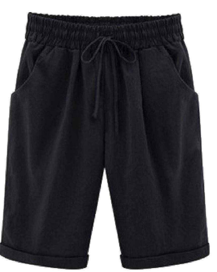 HEFASDM Womens Straight Solid Rolled Cuff Elastic Plus Size Chino Shorts