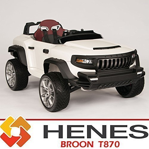 Henes Broon T870 Kids Ride On Jeep 24V Power with Rubber Wheels, Tablet PC & Remote, White