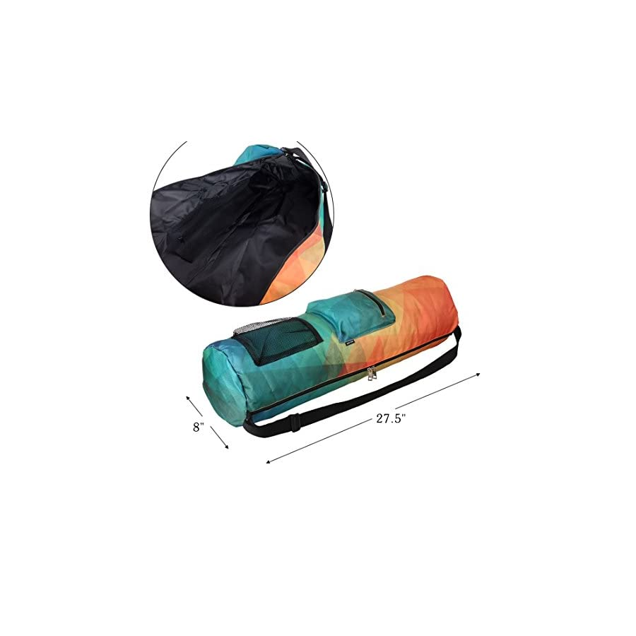 RoryTory Yoga Mat Bag w/Adjustable Strap, Water Bottle Carrier, Inner & Outer Pockets, Heavy Duty & Machine Washable Fits Most Yoga Mat Sizes