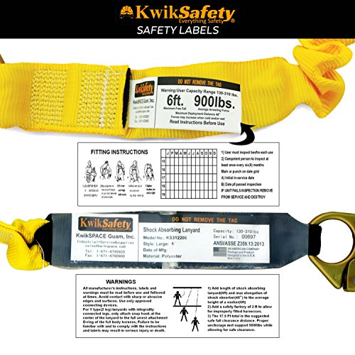 KwikSafety PYTHON | Double Leg 6ft Tubular Stretch Safety Lanyard | OSHA Approved ANSI Compliant Fall Protection | EXTERNAL Shock Absorber | Construction Arborist Roofing | Snap & Rebar Hook Connector by KwikSafety (Image #7)