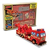 : Melissa & Doug Deluxe Wooden Mighty Builders Fire Truck