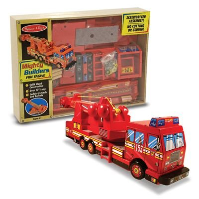 Melissa & Doug Deluxe Wooden Mighty Builders Fire Truck