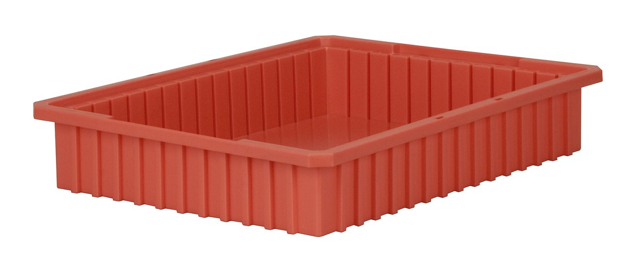 Akro-Mils 33224 Akro-Grid Slotted Divider Plastic Tote Box, 22-3/8 -Inch Length by 17-3/8-Inch Width by 4-Inch Height, Case of 6, Red