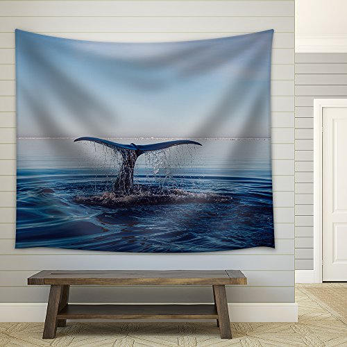 The Whale's Tail Slapping The Water in The Ocean Fabric Wall