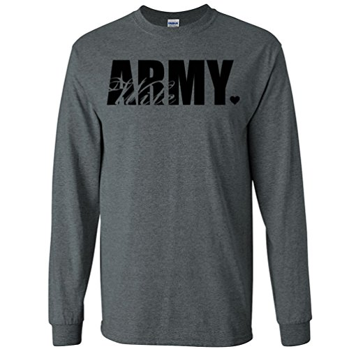 Army Wife Dark T-shirts (Army Wife Heart Long Sleeve T-Shirt in Dark Heather Gray - Large)