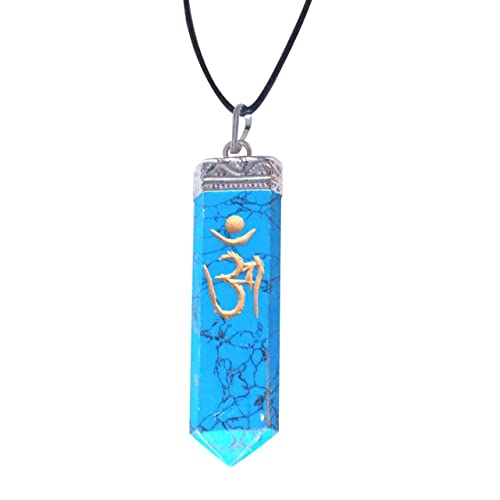 Artisan Crafted Natural Gemstone Gold Om Engraved Single Point Pendant Genuine Handmade Necklace Ethically Sourced Jewellery From India Sent In Retail Gift Box