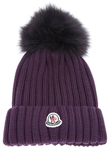 Moncler Woman's Purple Ribbed Beanie Hat by Moncler
