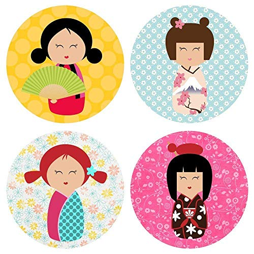 Kokeshi Girl in Kimono Sticker Labels - Geisha Girl Party Favors Envelope Seal - Set of - Doll Funeral
