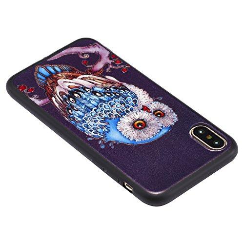 iPhone X Hülle 3D Blaue Eule Premium Handy Tasche Schutz Schale Für Apple iPhone X / iPhone 10 (2017) 5.8 Zoll + Zwei Geschenk