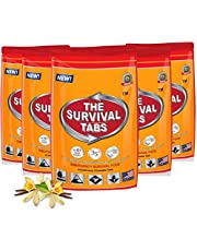 120 tabs Survival Tabs 10-day Emergency Survival MREs Meals Ready-to-eat Bugout for Travel Camping Boating Biking Hunting Activities Gluten Free and Non-GMO 25 Years Shelf Life - Vanilla Malt Flavor