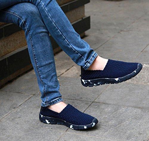 Anguang Mujer Ponerse Tejido Tramo Plano Zapatos Para Caminar Corriendo Respirable Casual Entrenadores Zapatos Azul