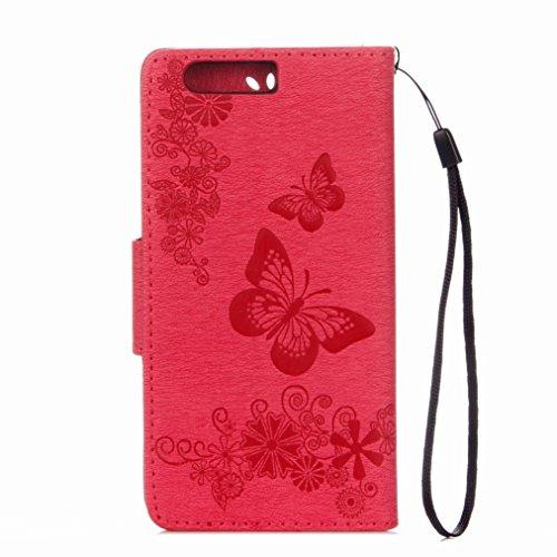 Yiizy Huawei P10 Plus Custodia Cover, Farfalla Fiore Design Sottile Flip Portafoglio PU Pelle Cuoio Copertura Shell Case Slot Schede Cavalletto Stile Libro Bumper Protettivo Borsa (Red Rose)