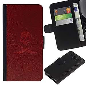Billetera de Cuero Caso del tirón Titular de la tarjeta Carcasa Funda del zurriago para Samsung Galaxy S3 III I9300 / Business Style Pirate Sign Symbol Slogan Skull Swords