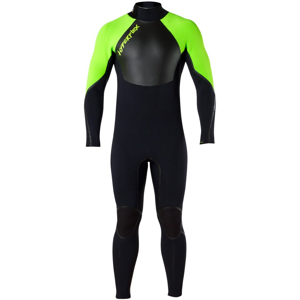 Hyperflex Wetsuits Men's Voodoo 3/2mm Back Zip Fullsuit, Black/Green, Medium by Hyperflex