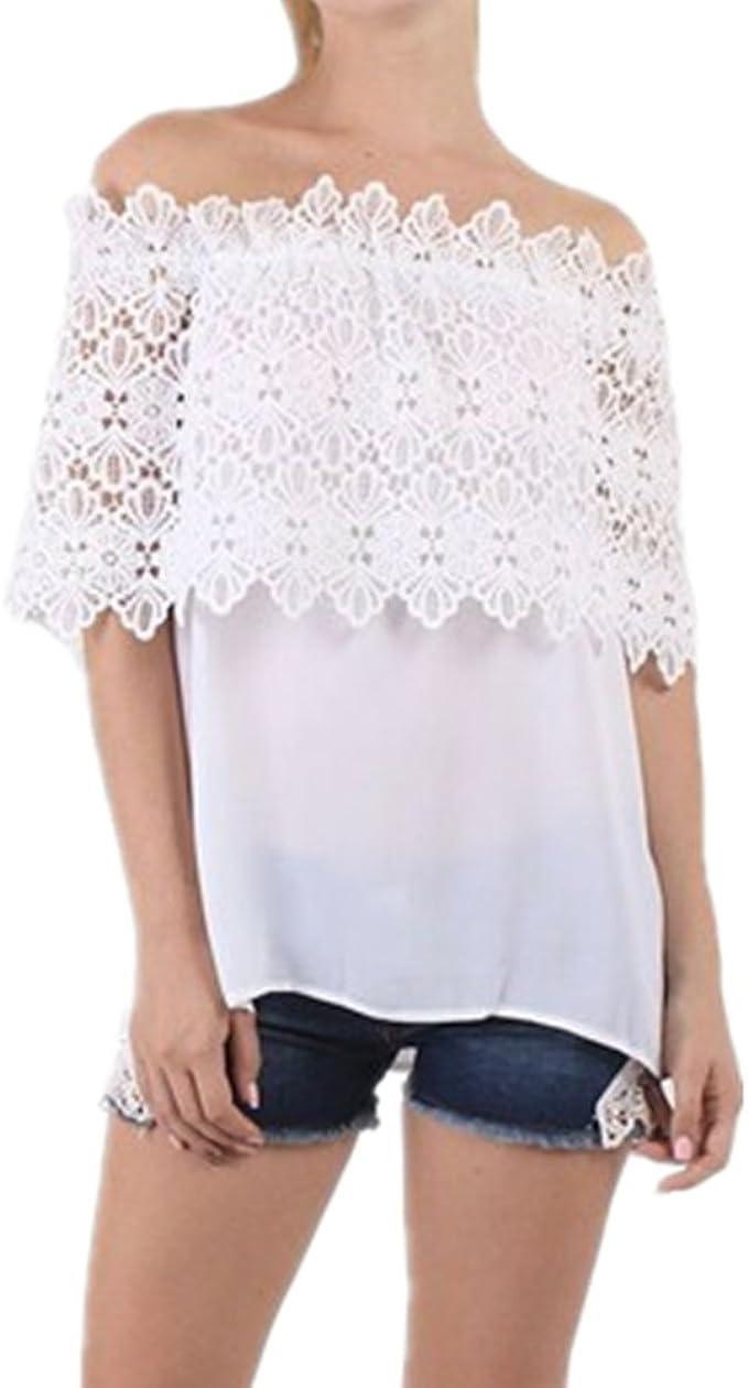 Culater® Mujer Tops Blusa Encaje de Ganchillo Chiffon Camisa Camisetas cordón (42, Blanco): Amazon.es: Ropa y accesorios
