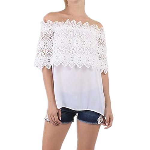 Culater Mujer Tops Blusa encaje de ganchillo Chiffon camisa Camisetas cordón