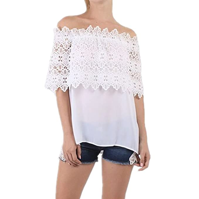 Culater Mujer Tops Blusa encaje de ganchillo Chiffon camisa Camisetas cordón (36, Blanco)