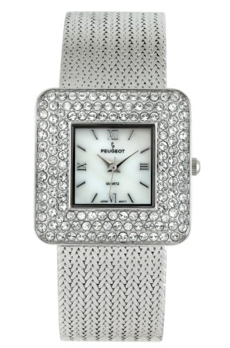 Peugeot Women's Silver Weave Bracelet Square Crystal Bezel Mother of Pearl Roman Numeral Jewelry Dress Watch J1841S