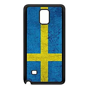 Old Grunge Metal Flag of Sweden - Swedish Flag - Sveriges flagga Black Silicon Rubber Case for Galaxy Note 4 by UltraFlags + FREE Crystal Clear Screen Protector
