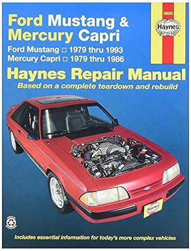 haynes ford mustang 79 93 mercury capri 79 86 0038345006548 rh amazon com Chilton Repair Manuals PDF Haynes Repair Manual Online View