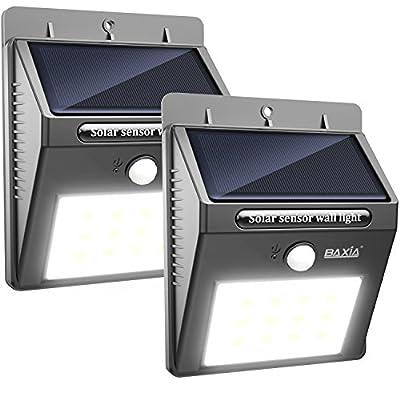 BAXIA TECHNOLOGY Solar Lights, Wireless Waterproof Solar Motion Sensor Security Light for Garden,Yard,Fence,Pathyway,Outside Wall[12 Leds,2 Packs]