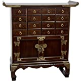 Oriental Furniture Korean Antique Style 16 Drawer Medicine Chest