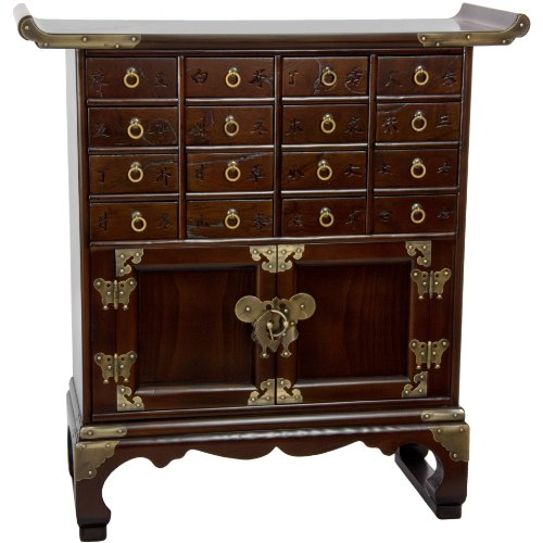 Oriental Furniture Korean Antique Style 16 Drawer Medicine Chest - Classic Antique Style Chest