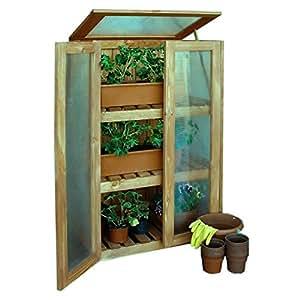 Invernadero Armario de madera efecto invernadero Cultivo Armario para balcón de Gartenpirat®