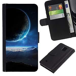 Be Good Phone Accessory // Caso del tirón Billetera de Cuero Titular de la tarjeta Carcasa Funda de Protección para Samsung Galaxy Note 4 SM-N910 // Blue Sun Light Planets Alien World Universe Art