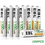 EBL 100 Pack of 1100mAh AAA Ni-MH Rechargeable Batteries