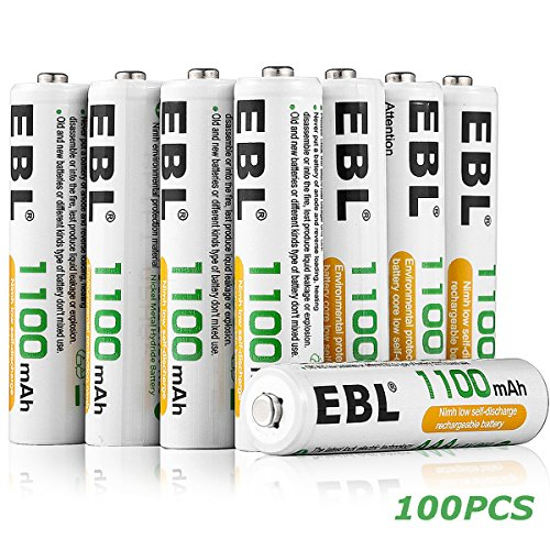 EBL 100 Pack of 1100mAh AAA Ni-MH Rechargeable Batteries by EBL