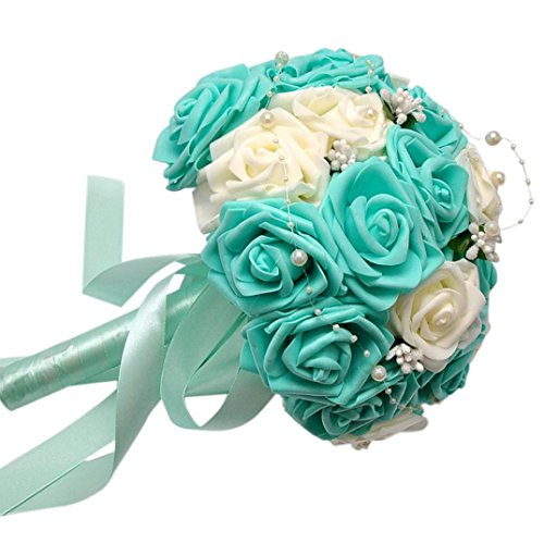 YJYdada Crystal Roses Pearl Bridesmaid Wedding Bouquet Bridal Artificial Silk Flowers (Blue)