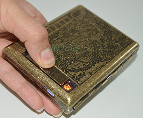 Antique Gold USB Rechargeable Windproof Metal Electric Built-in Flame Less Lighter Cigarette Cigar Storage Case (FREE CAR sticky pad for Phone PDA MP3 MP4) GD-1382