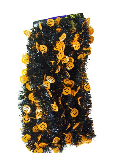 Orange Halloween Garland - Pumpkins - Black 15 ft. Halloween Garland