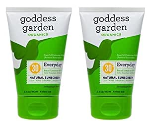Goddess Garden SPF30 Everyday Natural Sunscreen Lotion (Pack of 2) with Aloe Vera, Shea Butter, Coconut Oil, Safflower Seed Oil, Lavender Oil and Vitamin E, 3.4 oz