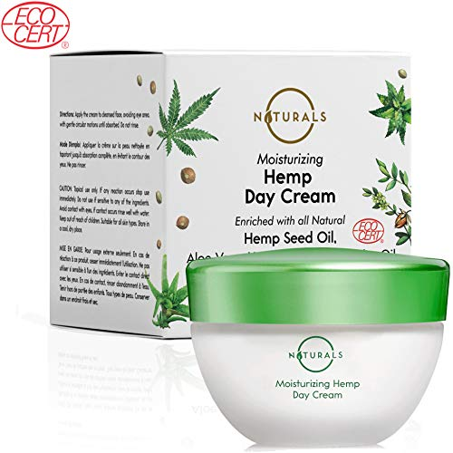 O Naturals Anti-Aging Moisturizing Hemp Day Cream. For Face, Neck & Décolleté. Made with Hyaluronic Acid. Non Greasy, for Firm and Wrinkle-Free Skin. Collagen Boosting. Certified Organic. 1.7 Oz