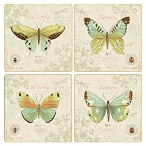 CoasterStone AS2565 Absorbent Coasters, 4-1/4-Inch, Cote Jardin Butterfly Collection, Set of 4