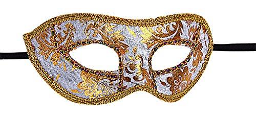 Maze Unisex Retro Classy Plastic Gold Painted Leaves Edges Venetian Eye Mask, White One (Plain Masquerade Masks In Bulk)
