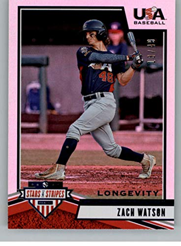 (2019 Panini Stars and Stripes Longevity Base Sapphire Baseball #100 Zach Watson SER/49 USA Baseball Collegiate National Team Official USA Trading Card)