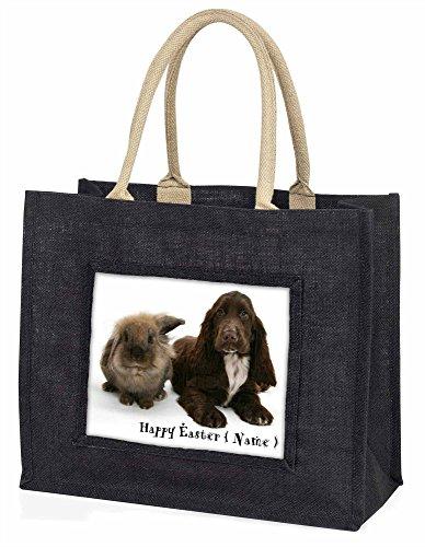 Advanta–Große Einkaufstasche personalisierbar Kaninchen + Hund Große Einkaufstasche Weihnachtsgeschenk Idee, Jute, schwarz, 42x 34,5x 2cm