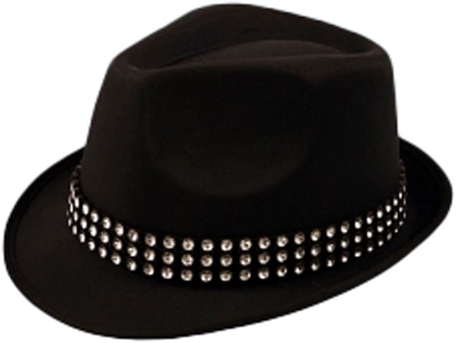 MA ONLINE Mens Trilby Gangster Hat With Gem Stones Womens Dance Show Fancy  Dress Accessory One Size  Amazon.co.uk  Clothing 70dea2c02715
