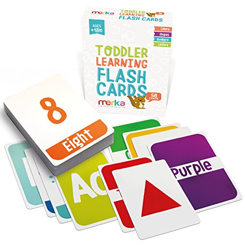 Kids Alphabet Colors Shapes and Numbers Learning Flash Cards - 58 cards with beautiful illustrations and bright colors