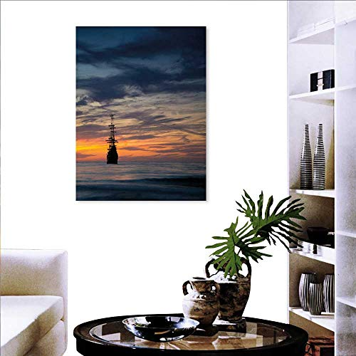 Anniutwo Pirate Ship Wall Hole Sticker Old Sailboat in Majestic Sunset Scenery Tropical Waters Maritime Personalized Photo to Canvas Print Wall Art Dark Blue Salmon Black