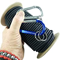 """Shock Cord - Marine Grade, with 2 Carabiners & Knot Tying eBook. 1/8"""", 3/16"""", 1/4"""" on 25 / 50 / 100 ft. Spools. 6 Colors, Made in USA. Also called bungee cord, stretch cord & elastic cord."""
