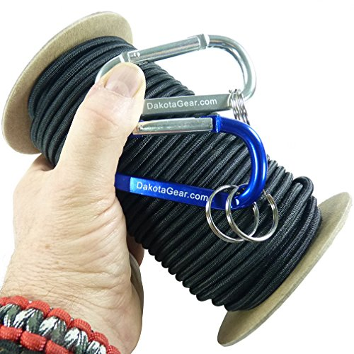 "Shock Cord - BLACK 1/8"" x 50 ft. Spool. Marine Grade, with 2 Carabiners & Knot Tying eBook. Also called Bungee Cord, Stretch Cord & Elastic Cord. (Shoes Deck Tie)"