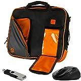 VanGoddy Titan Orange Messenger Bag w/USB Flash Drive and Mouse for ASUS Flip C100PA / C101PA / C213SA / C201PA Touch Screen ChromeBook 10''-11.6inch