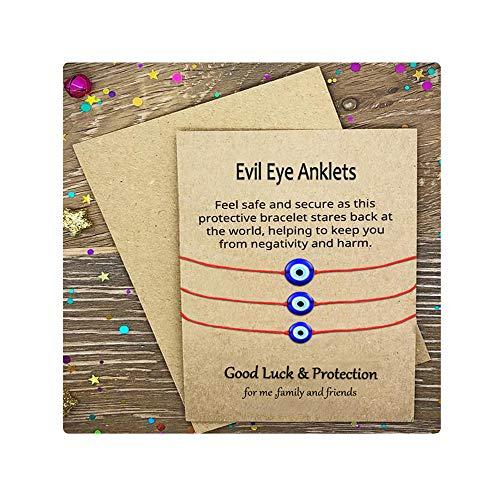 Shonyin Evil Eye Adjustable Anklets Lucky Red String Kabbalah Anklets Birthday Gifts for Women Men Teen Girls Unisex 3 PCS/Set