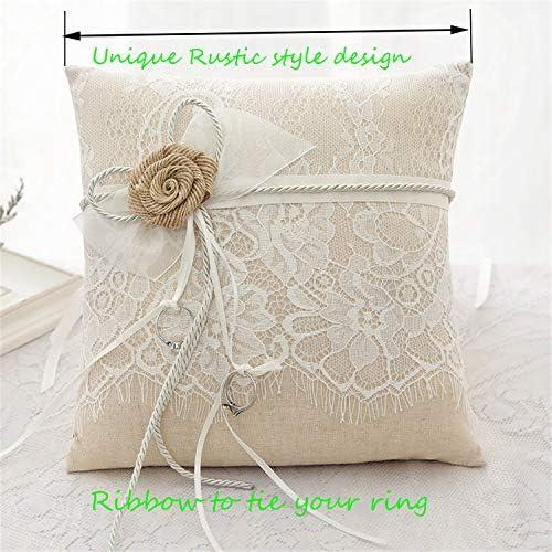 Bedler 7 7 Zoll Vintage Sackleinen Spitze Bowknot Ring Tr/äger Kissen und rustikale Hochzeit Blume M/ädchen Korb Set blumenkorb Hochzeit