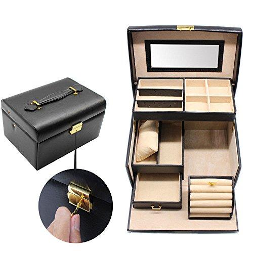 Disp Box - Generic Box Disp Faux Leather Jewelry ather Drawer Jewelry y Dr Lock Organizer Lock Box Display lti-layer Multi-layer ulti-la